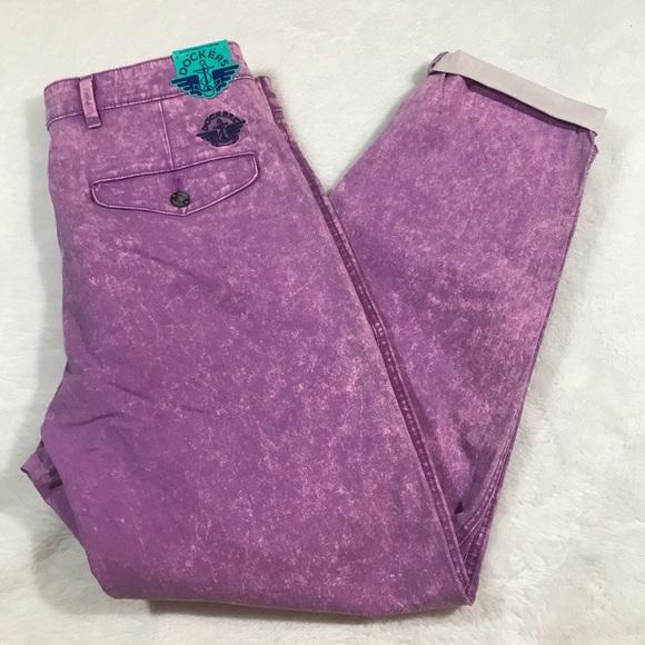 NWT DOCKERS URBAN acid wash pleated pant purple